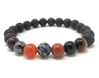 Protection Bracelet Lava Stone Diffuser Gemstone Bracelet - Essential Oil Power Bead Bracelet - Gift Box & Tag