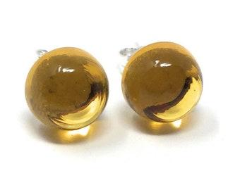 Citrine Stud Gemstone Earrings -  Sterling Silver & Citrine Earrings - Healing Gemstones -  8mm Stud Earrings
