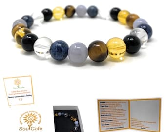 Memory, Concentration & Thinking Crystal Bracelet - Power Bead Bracelet - Crystal healing Gemstone Bracelet - Soul Cafe Gift Box and Tag