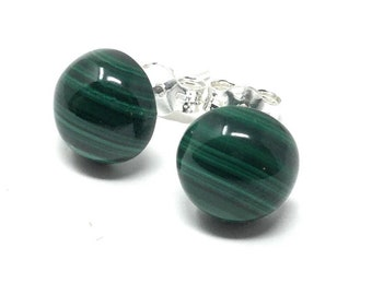 Malachite & Sterling 8mm Sterling Silver Stud Earrings - Healing Gemstone - gift box - Little Box of Love gift tag