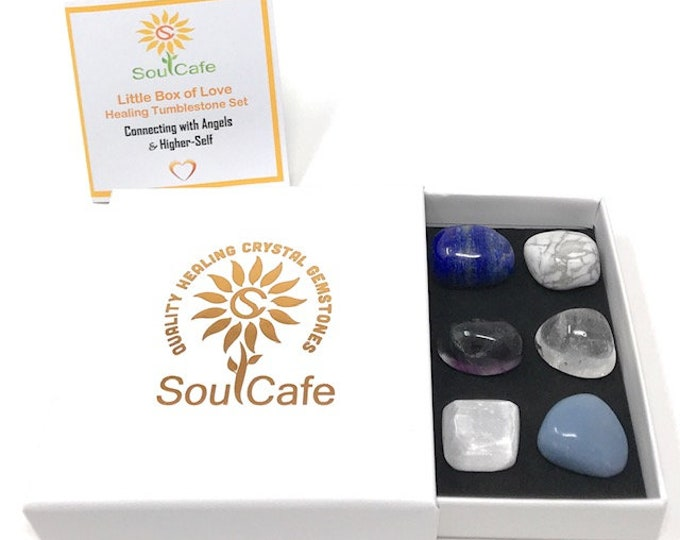 Angel Tumblestone Gift Set – Healing Crystal Gemstones - Connect with Angels & Higher Self