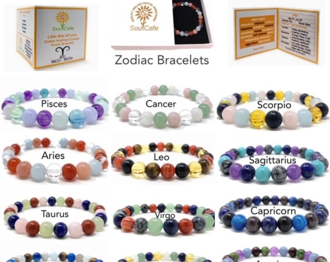 Soul Cafe Zodiac Healing Crystal Bracelets - Size Choice Customisation - Includes Gift Box & Information Tag
