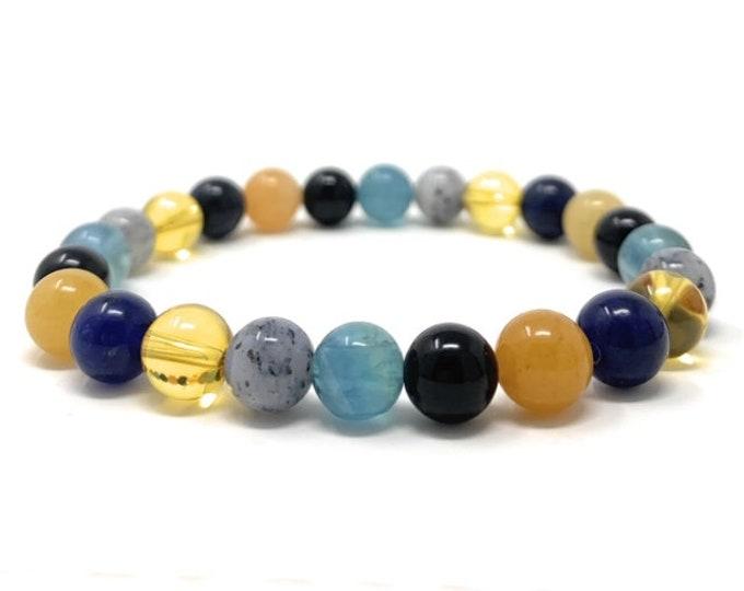 Study Aid Crystal Gemstone Bracelet - Power Bead Bracelet - Memory, Concentration, Exams - Gift Box & Tag