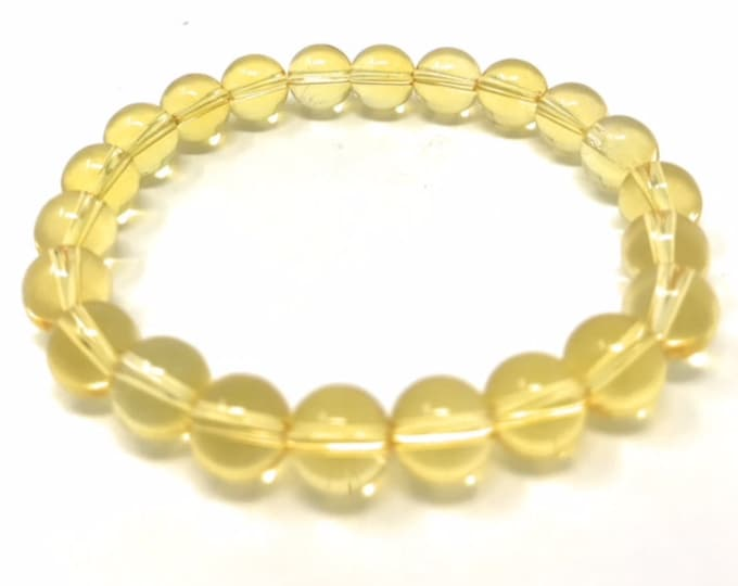 Citrine Power Bead Crystal Bracelet - Genuine Healing Crystal Gemstone Bracelet - Gift Box & Tag - Size choices