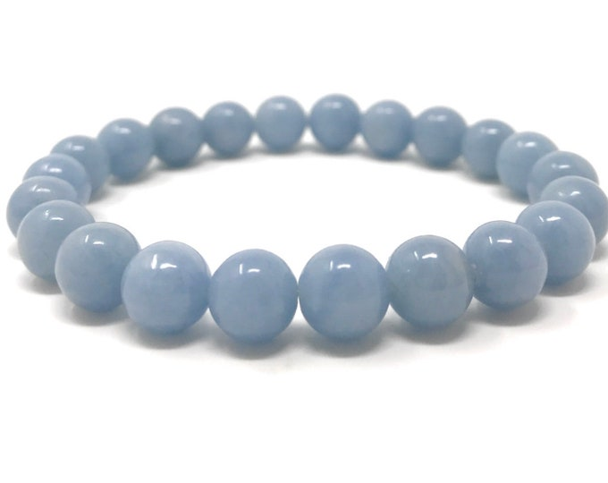 Angelite Power Bead Crystal Bracelet - Genuine Healing Crystal Gemstone Bracelet - Gift Box & Tag - Size choices