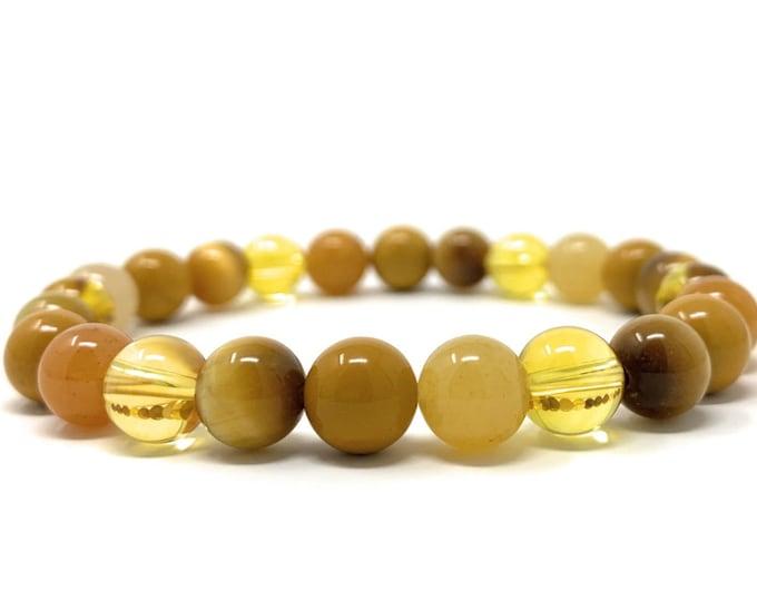 Solar Plexus Chakra Bracelet - Power Bead Bracelet - Healing Gemstones - Size Choice - Citrine, Honey Calcite, Tigers Eye, Yellow Jasper