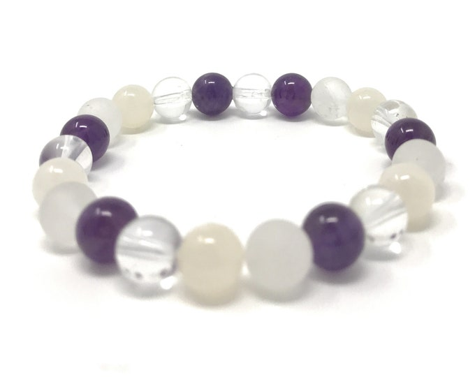 Crown Chakra Bracelet - Power Bead Bracelet - Healing Crystal Gemstones - Size Choice - Amethyst, Selenite, Moonstone, Clear Quartz