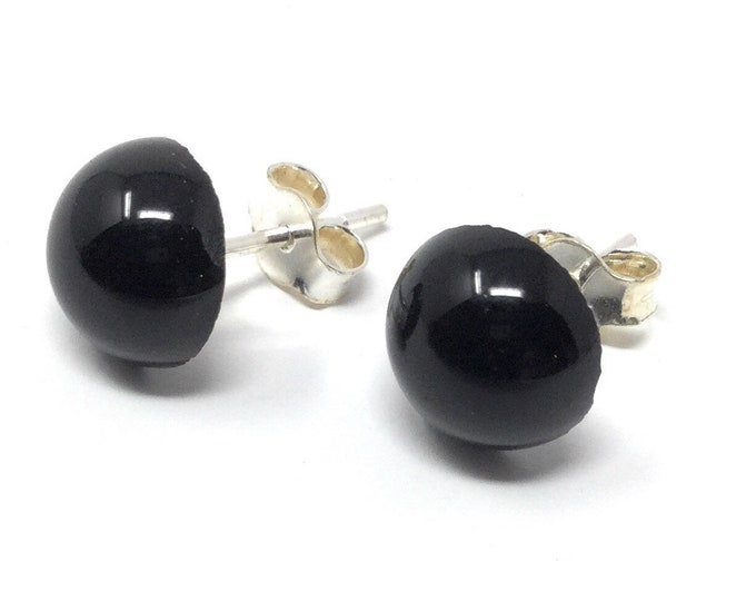 Black Onyx Studs -  Sterling Silver & Black Onyx Stud Earrings - 8mm - Healing Gemstones - Gift Box and Tag