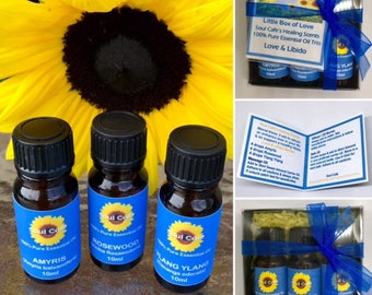 Love & Libido Pure Essential Oil - Massage Oil Set - Healing Scents - Amyris - Rosewood, Ylang Ylang - Recipe Tag - Therapeutic Grade