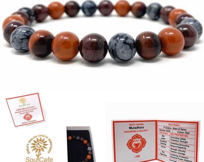 Root Chakra Bracelet - Power Bead Bracelet - Healing Crystal Gemstones, Red Jasper, Garnet, Red Tigers Eye, Snowflake Obsidian - Box & Tag