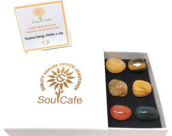 Positive Energy Tumblestone Set - Vitality Crystals - Joy Stones - Healing Gemstones - Citrine - Bloodstone - Yellow Jasper - Carnelian