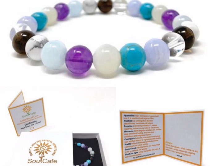 Calm Emotions Power Bead Bracelet - Healing Crystal Gemstone Bracelet - Stress Relief Bracelet - Soul Cafe Gift Box and Tag