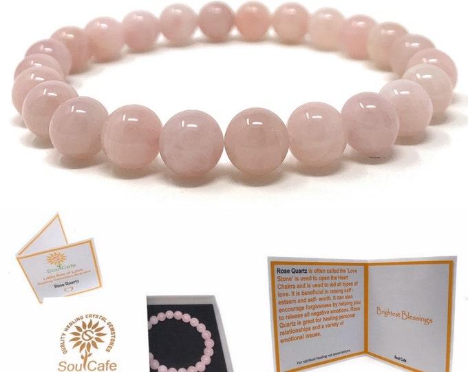 Rose Quartz Power Bead Crystal Bracelet - Healing Crystal Gemstone Bracelet - Soul Cafe Gift Box & Tag