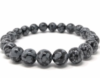 Snowflake Obsidian Power Bead Crystal Bracelet - Healing Crystal Gemstone Bracelet - Soul Cafe Gift Box & Tag