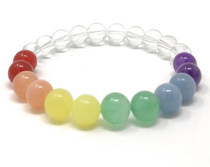 Rainbow Power Bead Bracelet - Unisex Crystal Healing Bracelet - Gift Box & Tag