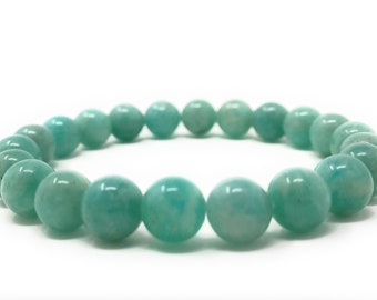 Amazonite Power Bead Crystal Bracelet - Genuine Healing Crystal Gemstone Bracelet - Gift Box & Tag - Size choices