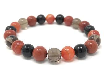 Root Chakra Bracelet - Power Bead Bracelet - Healing Crystal Gemstones - Size Choice - Red Jasper, Sardonyx, Smoky Quartz, Obsidian