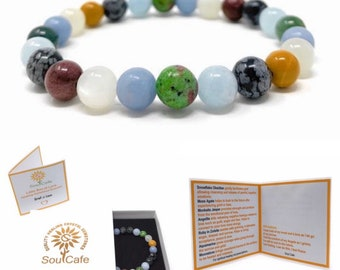 Grief Power Bead Bracelet  - Crystals for Loss - Grief Bracelet - Quality Healing Crystal Gemstone Bracelet - Bereavement Gift with Box