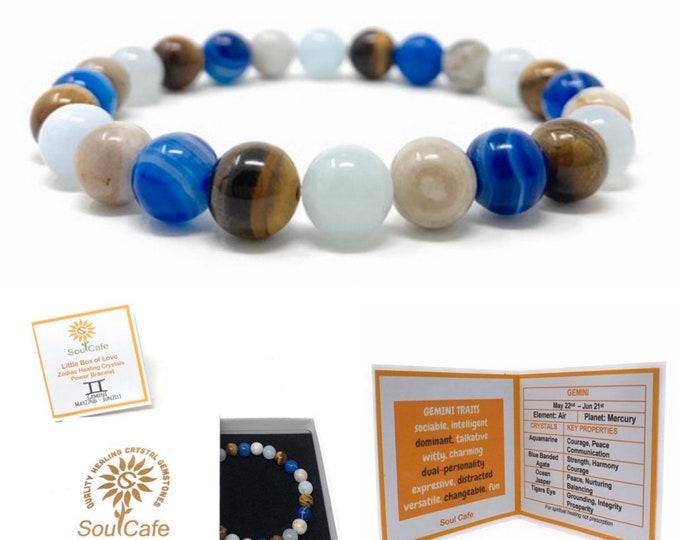 Gemini Crystal Bracelet - Power Bracelet - Zodiac Birthstones - Gift Box & Gemini Tag - Aquamarine, Blue Agate, Tigers Eye, Ocean Jasper