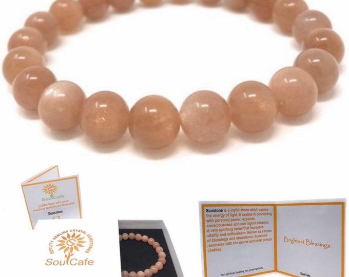 Sunstone Power Bead Crystal Bracelet - Genuine Healing Crystal Gemstone Bracelet - Soul Cafe Gift Box & Tag