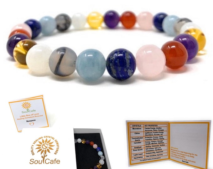 Menopause Crystal Bracelet - Power Bead Bracelet - Crystal healing Gemstone Bracelet - Soul Cafe Gift Box & Tag
