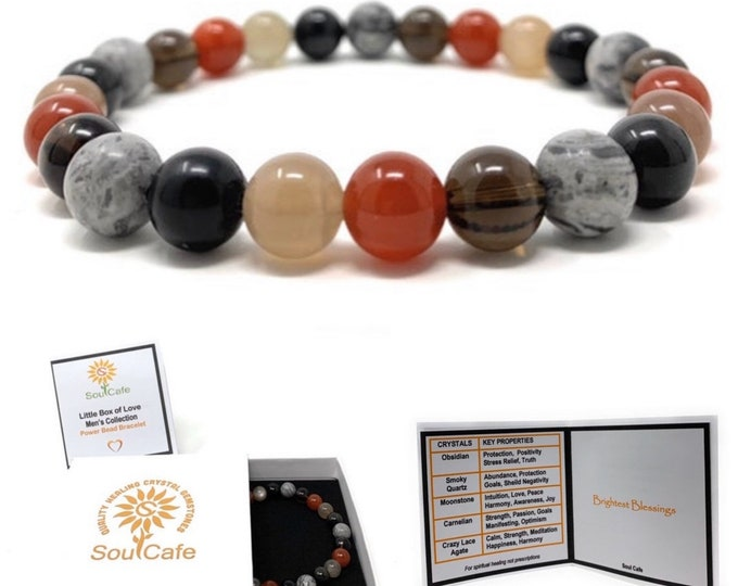Men's Healing Gemstone Bracelet - Moonstone, Carnelian, Obsidian, Crazy Lace Agate, Smoky Quartz - Gift Box and Tag