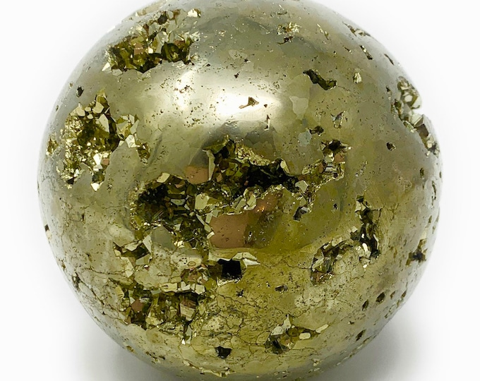 "Pyrite Geode Sphere Large 65mm (2.5"") Peru - Healing Crystal - Protection - Prosperity - Well-being - Gift Packed - Crystal Information Tag"