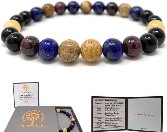 Men's Power Bead Bracelet - Lapis Lazuli, Garnet, Yellow Jade, Picture Jasper, Black Onyx - Soul Cafe Gift Box & Tag