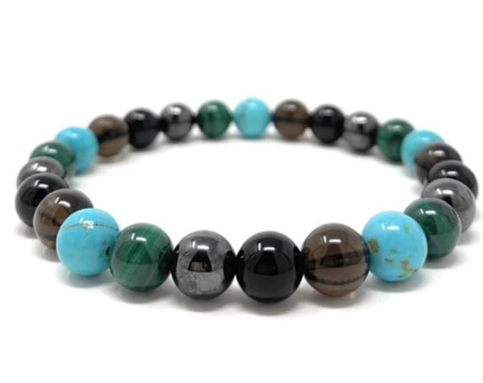 Men's Negative Energy Shield Power Bead Bracelet - Malachite, Shungite, Turquoise, Smoky Quartz, Magnetic Hematite - Gift Box & Tag