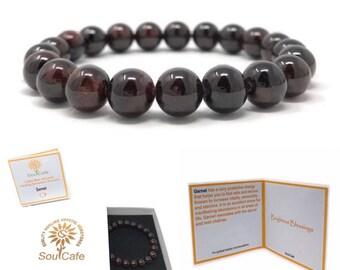 Garnet Power Bead Crystal Bracelet - Healing Crystal Gemstone Bracelet - Soul Cafe Gift Box & Tag