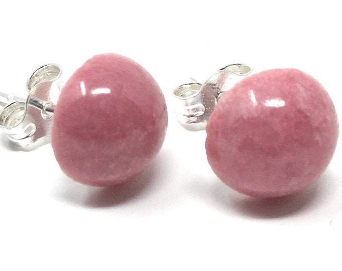 8mm Lovely Rhodonite & Sterling Silver Stud Earrings - Healing Gemstones - gift box - Little Box of Love - gift tag