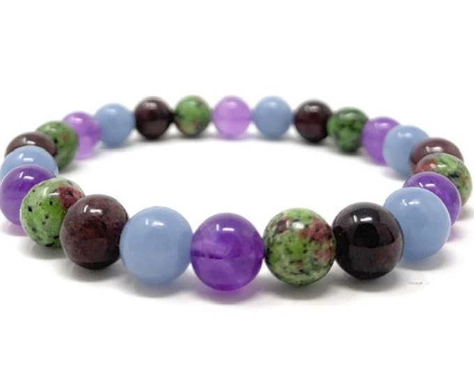 Aquarius Crystal Bracelet - Power Bracelet - Zodiac Birthstones - Gift Box & Aquarius Tag - Garnet, Angelite, Amethyst, Ruby in Zoisite