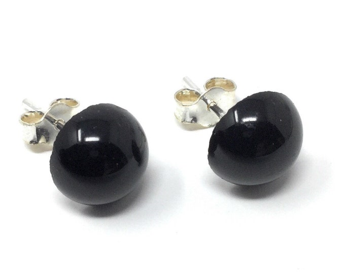 Black Tourmaline Studs -  Sterling Silver & Black Tourmaline Stud Earrings - 8mm - Healing Gemstones - Gift Box and Tag