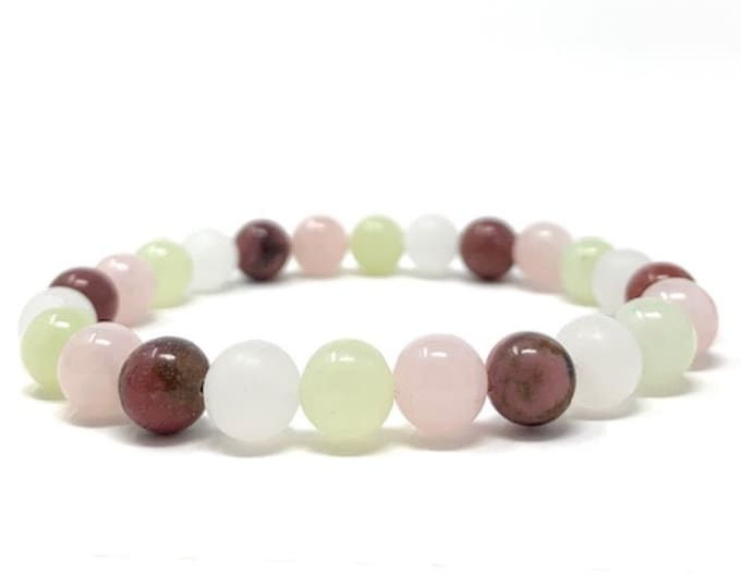 Taurus Crystal Bracelet - Power Bracelet - Zodiac Birthstones - Gift Box & Taurus Tag - Jade, Rhodonite, Rose Quartz, Selenite