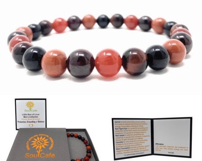Men's Protection Bracelet - Power Bead Healing Crystal Bracelet - Gift Box & Information Tag
