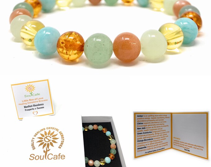 Prosperity Crystal Bracelet - Premium Healing Gemstone Bracelet - Soul Cafe Gift Box & Information Tag