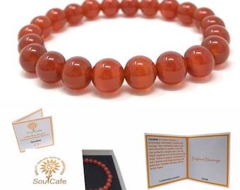 Carnelian Power Bead Crystal Bracelet - Healing Crystal Gemstone Bracelet - Soul Cafe Gift Box & Tag