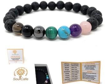Cleanse and Clear Negative Energy Bracelet - Lava Stone Diffuser Gemstone Bracelet -  - Essential Oil Power Bead Bracelet - Gift Box & Tag
