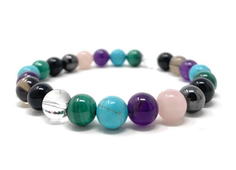 Size choices Cleanse /& Clear Negative Energies Crystal Bracelet with Malachite Crystal healing Gemstone Bracelet Power Bead Bracelet