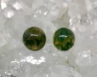 Moss Agate Studs - Sterling Silver Stud Earrings - Healing Gemstone Stud Earrings - Earring Gift - 8mm Crystal Studs