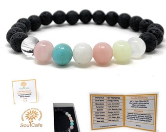 Love Crystal Bracelet - Lava Stone Diffuser Gemstone Bracelet - Essential Oil Love Bracelet - Power Bracelet - Gift Box & Tag