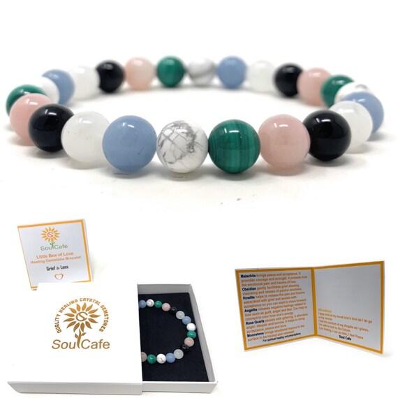 gemstone elastic bracelet Obsidian and moonstone healing stretch bracelet