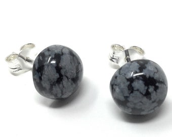 Snowflake Obsidian Studs -  Sterling Silver & Snowflake ObsidianEarrings - Healing Gemstones - Protection Jewellery - 8mm Stud Earrings