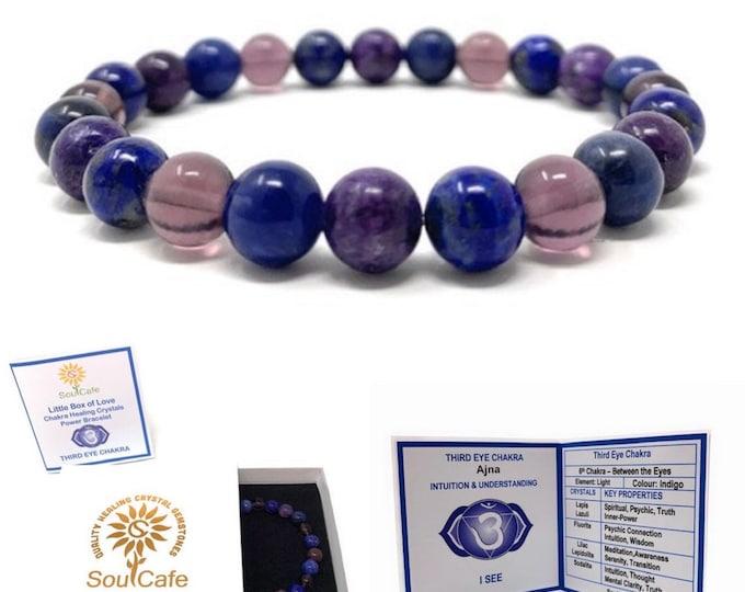 Third Eye Chakra Bracelet - Power Bracelet - Healing Crystal Gemstones - Lapis Lazuli, Lilac Lepidolite , Fluorite, Sodalite - Box & Tag