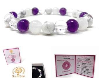 Crown Chakra Bracelet - Power Bead Bracelet - Healing Crystal Gemstones - Amethyst, Howlite, Moonstone, Clear Quartz - Gift Box & Tag