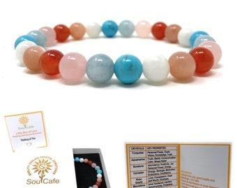 Thinking of You Bracelet - Missing You Gift - Healing Crystal Gemstones - Soul Cafe Gift Box & Tag