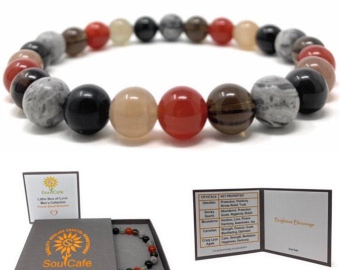 Men's Healing Gemstone Bracelet - Moonstone, Carnelian, Obsidian, Crazy Lace Agate, Smoky Quartz - Gift Box and Tag