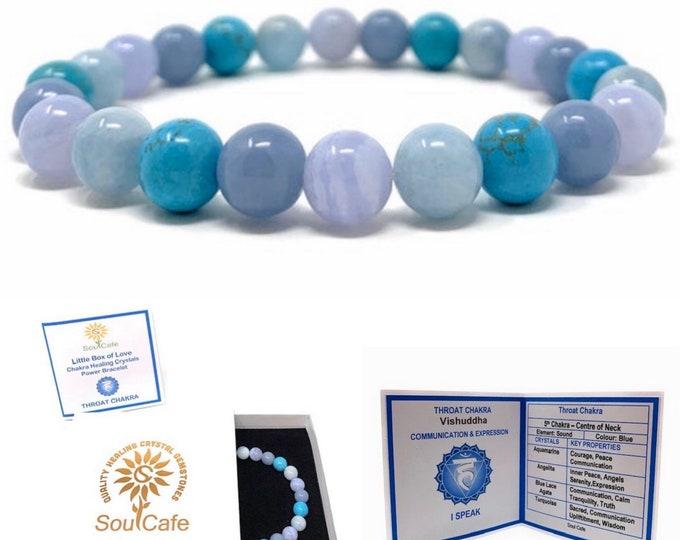 Throat Chakra Bracelet - Power Bead Bracelet - Healing Crystal Gemstones - Aquamarine, Angelite, Turquoise, Blue Lace Agate - Gift Box & Tag