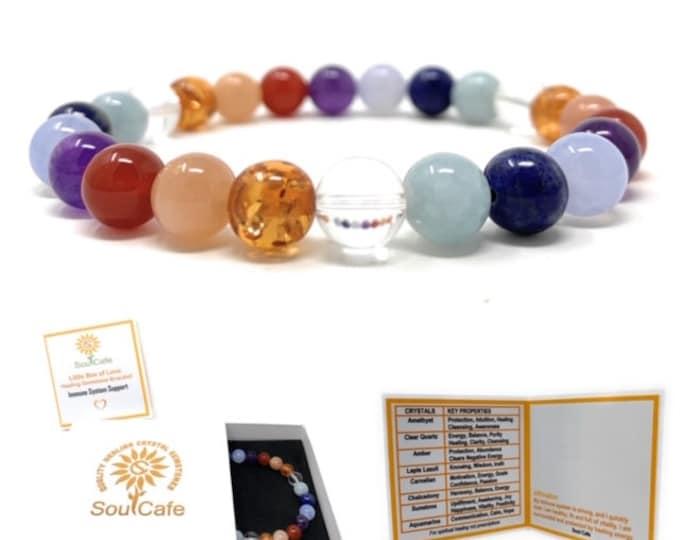 Immune System Bracelet - Power Bead Bracelet - Crystal healing Gemstone Bracelet - Soul Cafe Gift Box & Tag