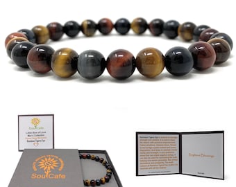 Men's Rainbow Tigers Eye Stretch Power Bead Bracelet - Soul Cafe Gift Box & Tag